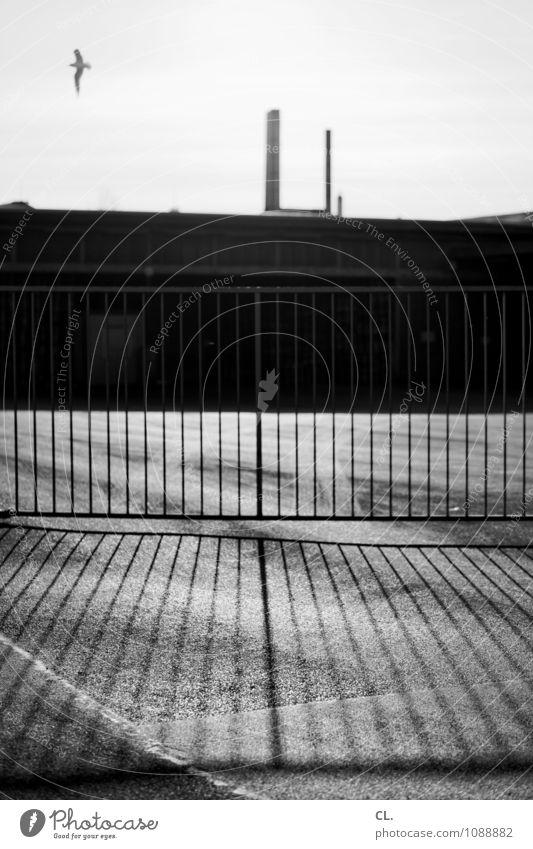 irgendwo im nirgendwo Wirtschaft Industrie Feierabend Himmel Schönes Wetter Menschenleer Industrieanlage Fabrik Platz Gebäude Architektur Schornstein Zaun