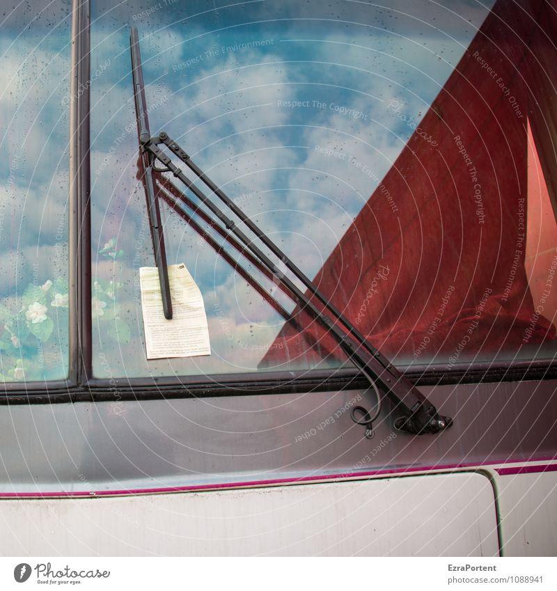 sie haben Post Design Himmel Wolken Fahrzeug Wohnmobil Glas Metall Linie blau grau rot diszipliniert Grafik u. Illustration Strafmandat Scheibenwischer