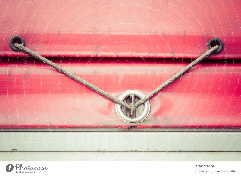 Zusammenhalt Design Verkehr Verkehrsmittel Güterverkehr & Logistik Lastwagen Linie dreckig grau rot Grafik u. Illustration Öse Loch Gurt spannen fest Abdeckung