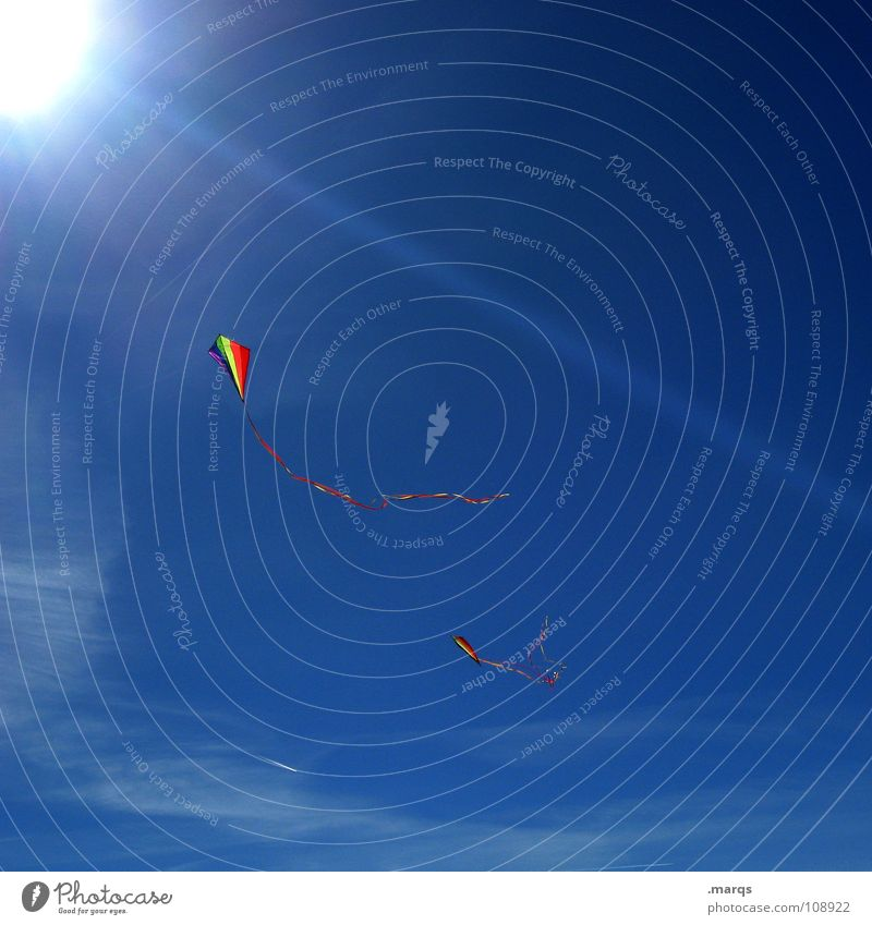 Drachentag Himmel blau Sonne Freude Herbst Spielen Lampe Beleuchtung Wind fliegen laufen Flugzeug führen steigen Kiting