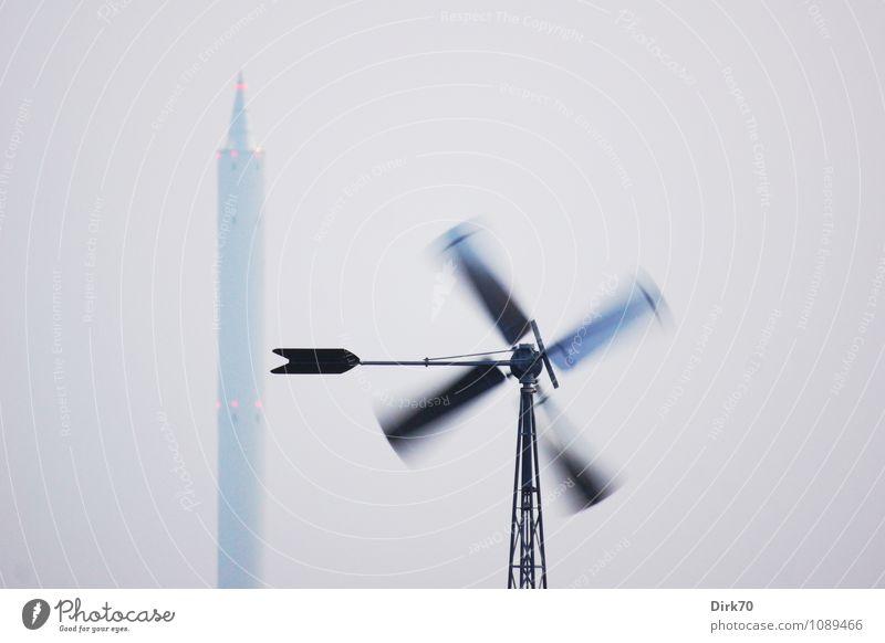 Wissenschaft mit Rückenwind blau rot schwarz grau Energiewirtschaft leuchten hoch groß Technik & Technologie Geschwindigkeit Zukunft Studium Turm Bildung Windkraftanlage Wissenschaften