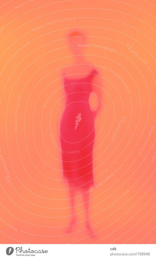 Sie Frau Kleid retro Aussehen Taille feminin einfach sommerlich Silhouette Körperhaltung Körpersprache stehen Licht Eindruck Unschärfe rot Physik distanzieren