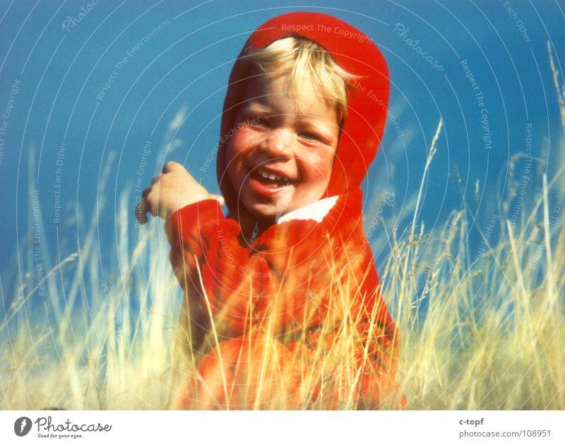 Rotkäppchen Freude Sommer Kind maskulin Kleinkind Junge Körper Kopf Gesicht Auge Lippen Zähne 1 Mensch 1-3 Jahre Wiese lachen Gefühle Glück Fröhlichkeit