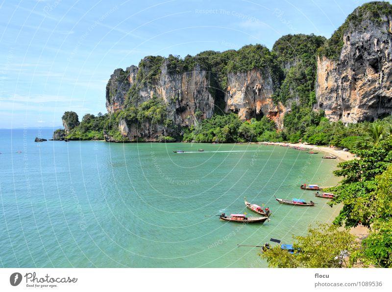Ton Sai Beach an einem sonnigen Tag mit Longtailbooten Erholung Ferien & Urlaub & Reisen Strand Meer Klettern Bergsteigen Landschaft Wald Felsen Wasserfahrzeug