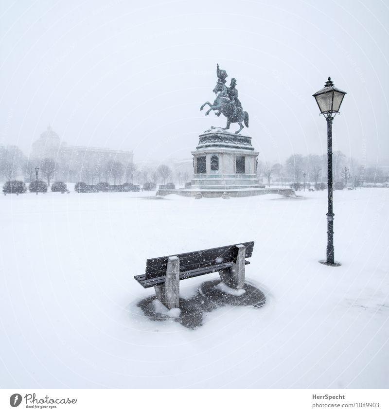 Rider on the (snow) storm weiß Einsamkeit Winter Umwelt Schnee grau Schneefall Wind ästhetisch leer Platz Urelemente Straßenbeleuchtung Denkmal Unwetter
