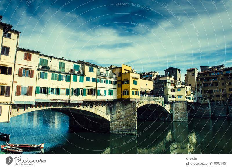 Ponte Vecchio [1] Ferien & Urlaub & Reisen Tourismus Sightseeing Städtereise Sommer Sommerurlaub Himmel Wolken Schönes Wetter Fluss Arno Florenz Italien Stadt