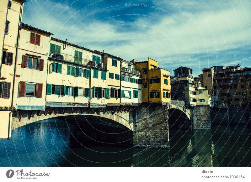 Ponte Vecchio [3] Himmel Ferien & Urlaub & Reisen Stadt alt Sommer Wolken Haus Architektur Gebäude Tourismus authentisch Schönes Wetter Brücke Italien historisch Fluss