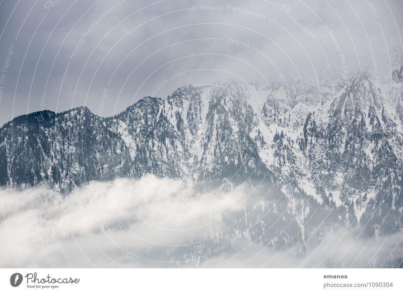 als die Wolken die Berge verschluckten Himmel Natur Ferien & Urlaub & Reisen Landschaft Wolken Ferne Winter Berge u. Gebirge Schnee Felsen Eis Tourismus Wetter Luft Nebel Wind