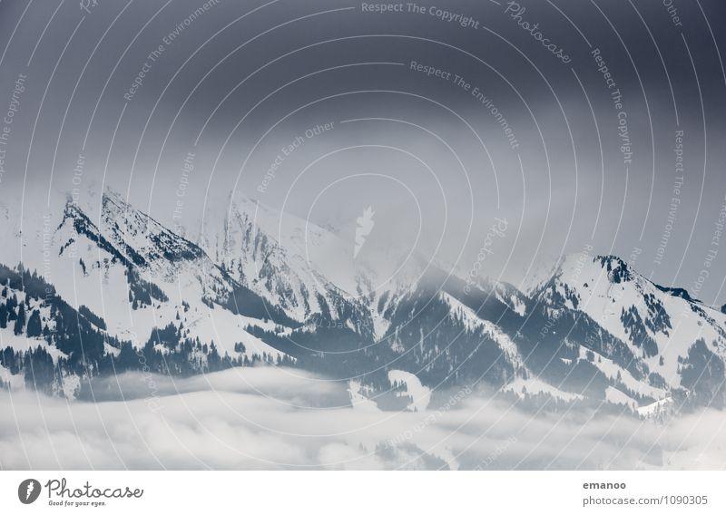 dark alps Himmel Natur Ferien & Urlaub & Reisen Baum Landschaft Wolken Winter dunkel Wald kalt Berge u. Gebirge Umwelt Schnee Eis Schneefall Wetter