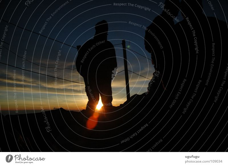 Kinabalu Sunrise Himmel Asien Mount Kinabalu sunrise mountain peak Silhouette sky shadow dark night