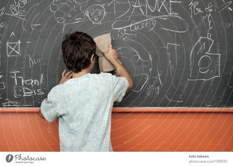 wisch und weg Kind Jugendliche grün Junge Spielen grau Schule Wege & Pfade orange lustig Deutschland Schilder & Markierungen Rücken T-Shirt Bildung Reinigen