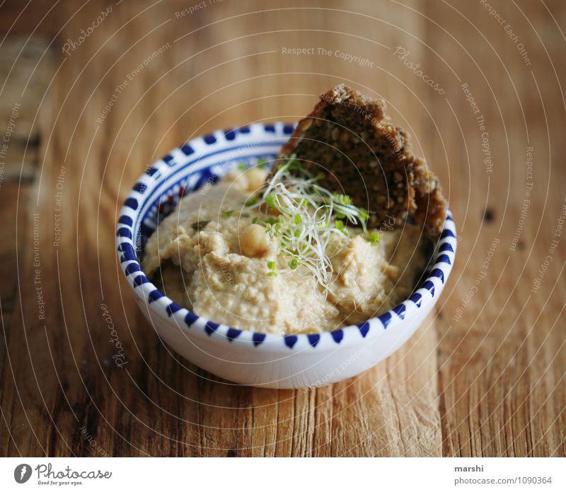 Hummus Lebensmittel Getreide Teigwaren Backwaren Brot Ernährung Essen Bioprodukte Vegetarische Ernährung Diät Fingerfood lecker braun Gefühle Stimmung
