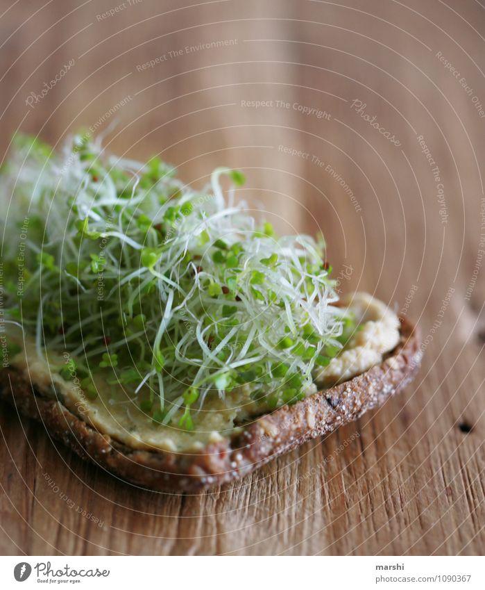 gesunder Snack Lebensmittel Brot Brötchen Kräuter & Gewürze Ernährung Essen Abendessen Bioprodukte Vegetarische Ernährung Diät Stimmung hummus Kresse lecker