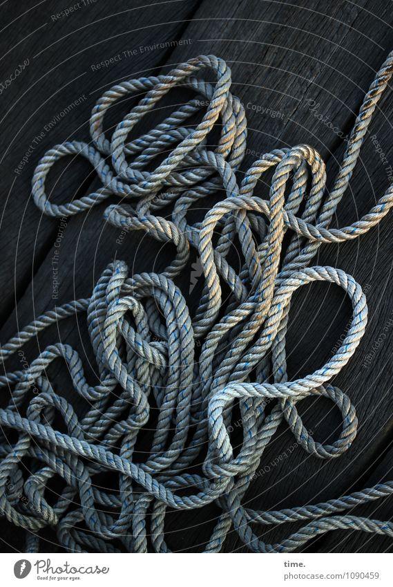 Hanfsalat Verkehr Schifffahrt Seil Anlegestelle Kunststoff Linie Netzwerk liegen sportlich einfach lang maritim rund Leben Partnerschaft Erholung Gelassenheit