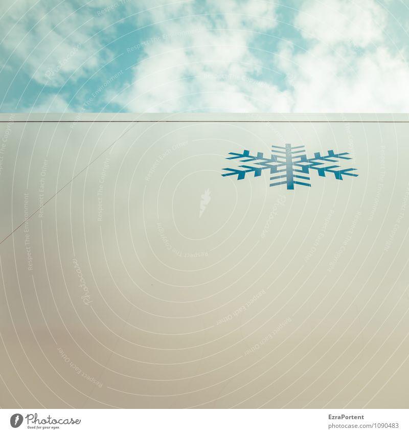last Schneeflocke Design Himmel Wolken Winter Klima Wetter Eis Frost Metall Zeichen Linie kalt blau weiß Coolness Grafik u. Illustration Schneefall