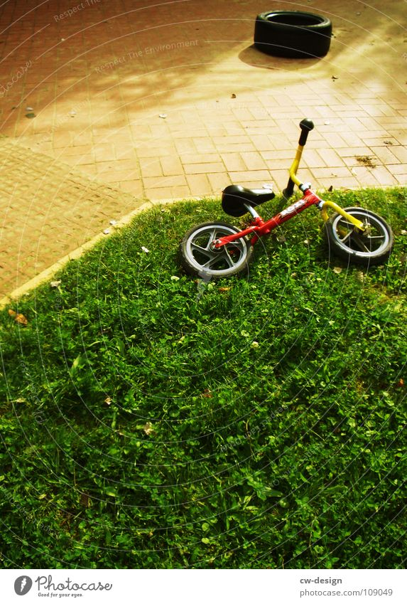fahrerflucht Gras liegen Rasen vergessen Kinderfahrrad Wegrand