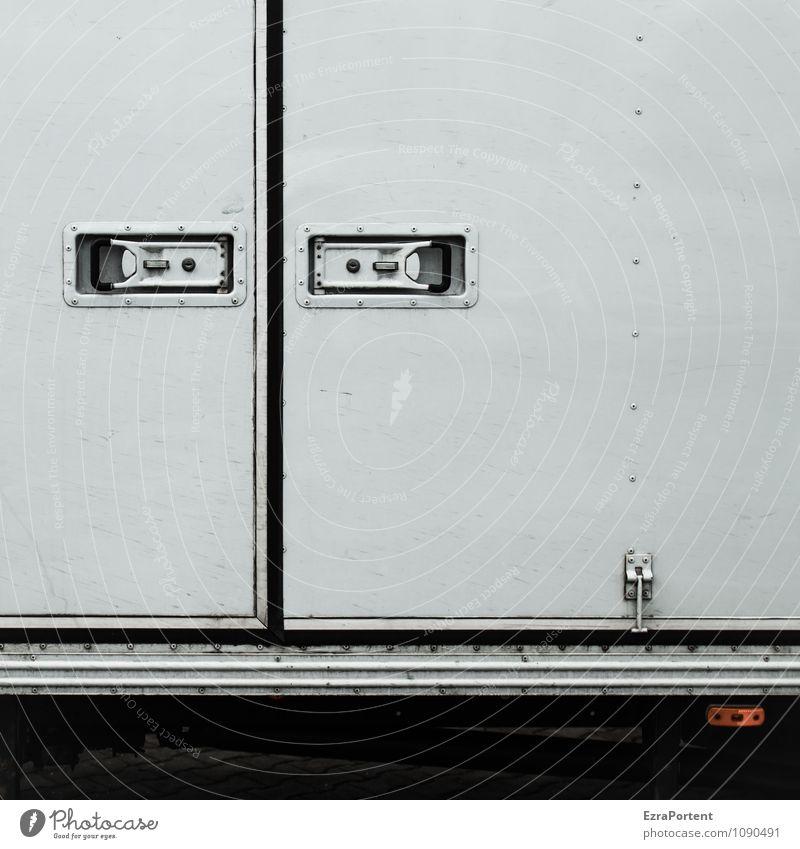 grimmig weiß schwarz grau Linie Metall Design Dekoration & Verzierung Verkehr geschlossen Streifen Grafik u. Illustration Güterverkehr & Logistik graphisch Lastwagen Schloss Verkehrsmittel