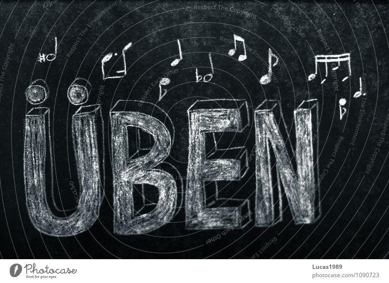 Üben Musik Konzert Sänger Chor Band Musiker Orchester Musiknoten üben Schüler Musikinstrument Musikschüler Tafel Kreide Musik hören Spielen lernen grau schwarz