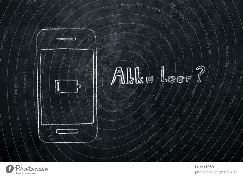 Akku leer? weiß schwarz grau Telefon Handy Tafel Fragen Kreide Schwäche Elektronik PDA Tablet Computer flau technisch Batterie