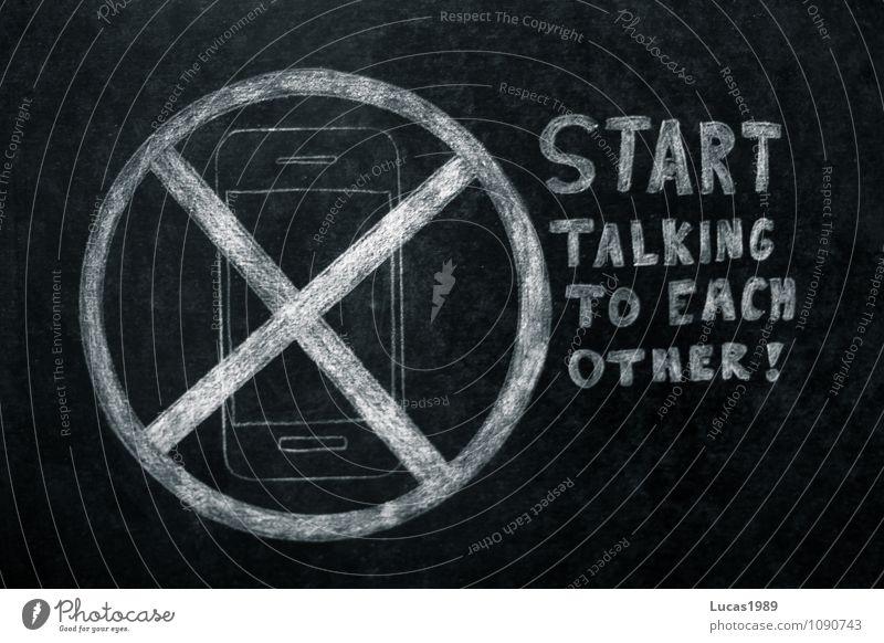 Start talking to each other! Mensch Jugendliche weiß schwarz Erwachsene sprechen Paar Zusammensein Schilder & Markierungen Kreativität Kommunizieren Telefon