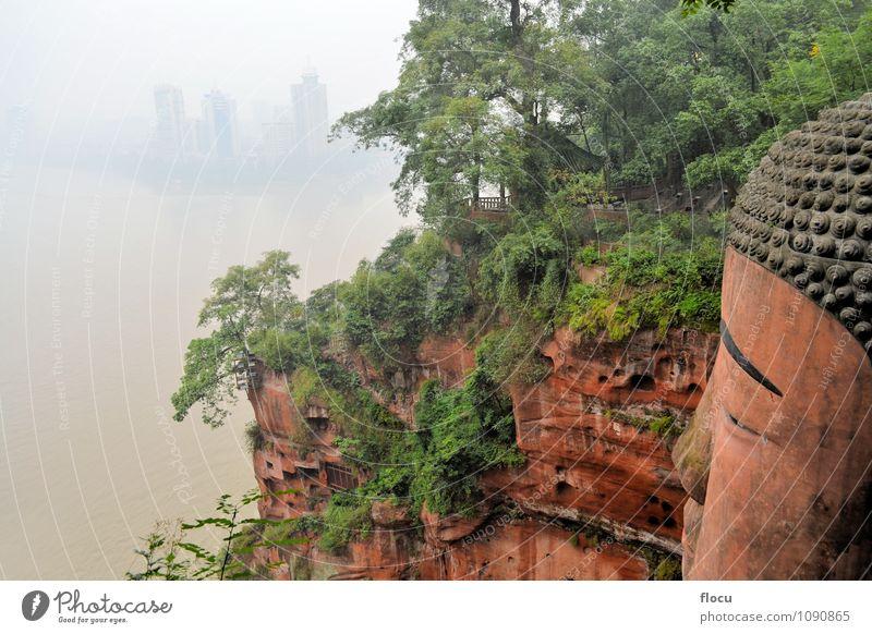größter Stein-Buddha der Welt, China Tourismus Berge u. Gebirge Kultur Hügel Felsen Fluss Stadt Platz Denkmal Wasserfahrzeug alt sitzen groß Farbe