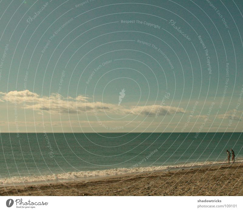 New Love Meer Strand Wolken grün Mensch Himmel Wetter blau Czan Sand