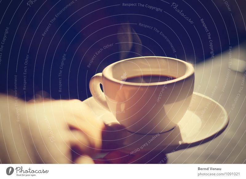 444   Schnaps dazu? Lebensmittel Frühstück Getränk Heißgetränk Kaffee Espresso blau braun schwarz weiß Gefühle Stimmung genießen Angebot Hand haltend