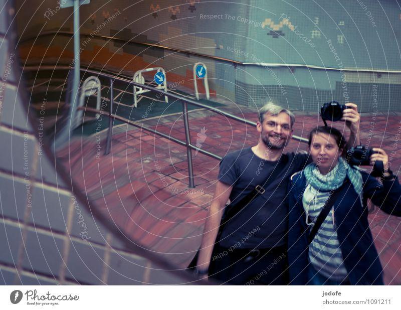 double selfie Mensch Jugendliche Mann Junge Frau Junger Mann Freude 18-30 Jahre Erwachsene Leben Gefühle Liebe feminin lustig Glück Zusammensein Freundschaft