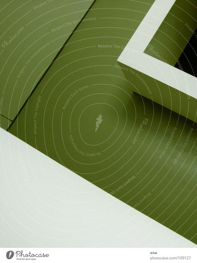 loki drei Ausstellung rein weiß Rampe Geländer Wand Raum Innenarchitektur grün Fuge Grenze flach Quadrat stürzend parallel modern Empore loki schmidt Klarheit