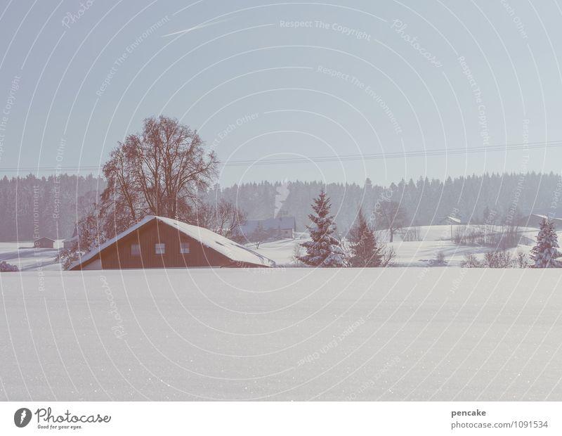 in aller stille Natur Landschaft Urelemente Himmel Winter Schnee Hügel Dorf Haus Glück Geborgenheit Romantik ästhetisch Zufriedenheit Freizeit & Hobby Tourismus