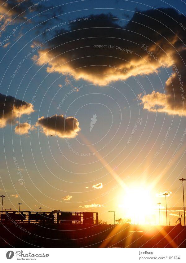 jfk sunset Zufriedenheit Erholung Ferien & Urlaub & Reisen Sonne Wolken Horizont Wärme Stadtrand Menschenleer Flugzeug fliegen schön Stimmung Sonnenuntergang