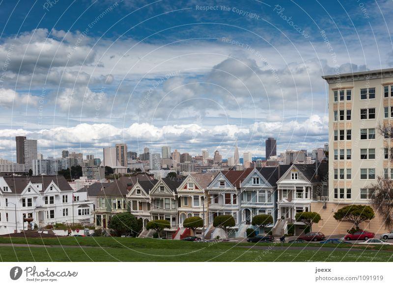 Painted Ladies Himmel Wolken Schönes Wetter Wiese San Francisco Stadt Skyline Haus Sehenswürdigkeit alt schön blau mehrfarbig weiß Nostalgie Vergangenheit
