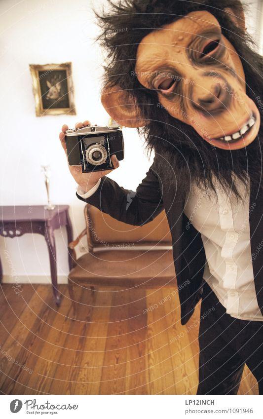SELFIE AFFEN. I Entertainment Halloween Mensch maskulin Junger Mann Jugendliche Kopf 1 18-30 Jahre Erwachsene 30-45 Jahre Veranstaltung Show Affen Tier
