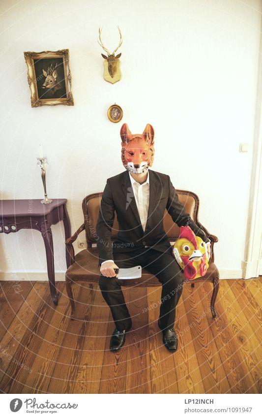 LP-ROTFUCHS. XIII Axt maskulin Mann Erwachsene Körper 1 Mensch Anzug Nutztier Wildtier Fuchs Hahn 2 Tier warten Aggression gruselig verrückt Kraft
