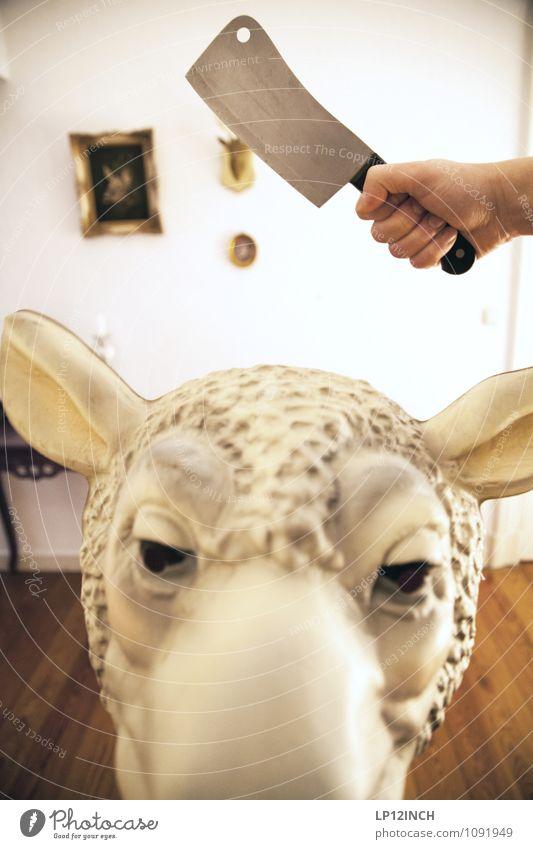 SCHAFSbeilAGE. VIII Hand Tier Tod Essen Schutz Appetit & Hunger Maske nachhaltig Schaf Fleisch Aggression Halloween Nutztier Abtrennung attackieren gefräßig