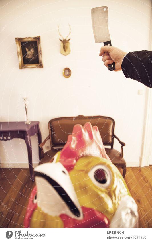HAHN ist ab. X Arme Hand Hahn 1 Tier Essen Aggression verrückt Appetit & Hunger Tod Schlachtung Axt töten Altbauwohnung Bank Messer Fleischfresser Farbfoto