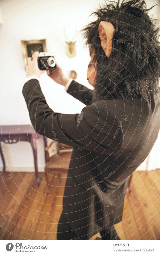 SELFIE AFFEN. III Mensch Jugendliche Mann Freude Junger Mann Tier Erwachsene maskulin Angst Körper niedlich retro Neugier Fotokamera gruselig Maske