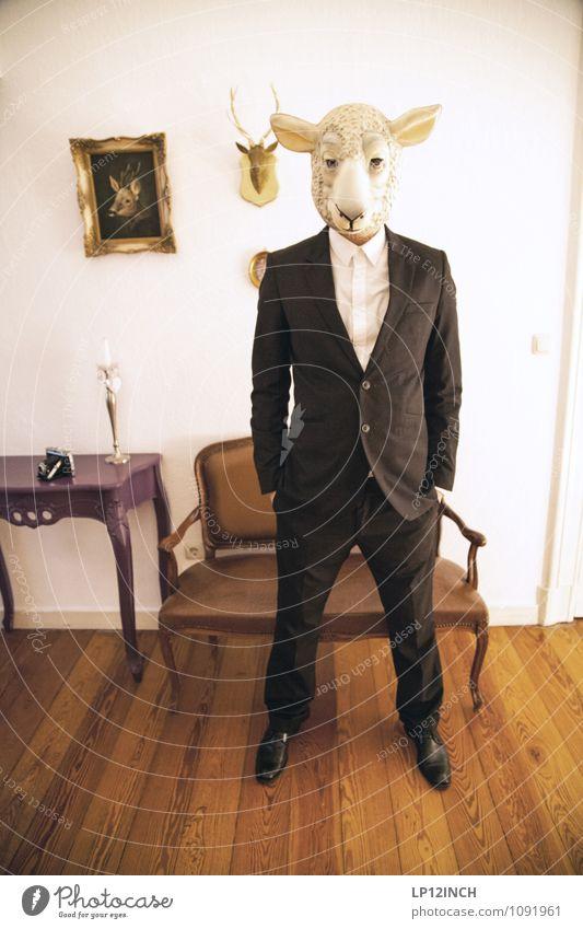 SCHArFer. XIV Business Karriere Erfolg Feierabend maskulin Mann Erwachsene Körper 1 Mensch Mode Anzug Tier Nutztier Schaf stehen warten Freundlichkeit retro
