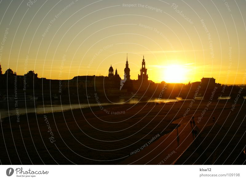 Skyline Dresden Sonne Herbst Dresden Skyline historisch Sonnenuntergang Elbe Sachsen Himmelskörper & Weltall