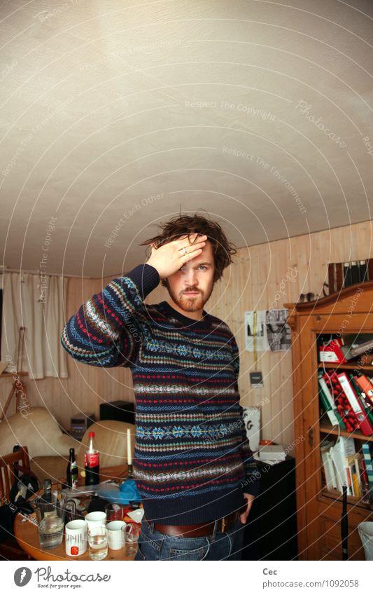 Brother Getränk Raum maskulin Junger Mann Jugendliche Kopf Hand 1 Mensch 18-30 Jahre Erwachsene Pullover Bart berühren groß blau braun selbstbewußt Coolness