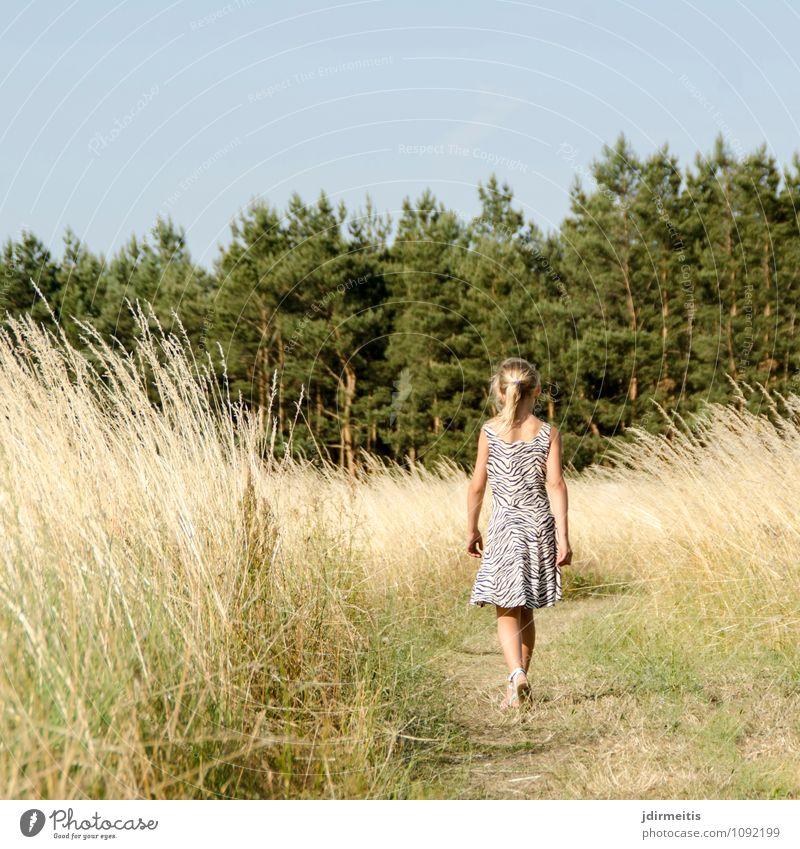 Im Feld Freizeit & Hobby Spielen Sommer wandern Kind Schulkind Mensch feminin Mädchen 1 8-13 Jahre Kindheit Umwelt Natur Landschaft Pflanze Himmel Baum Gras