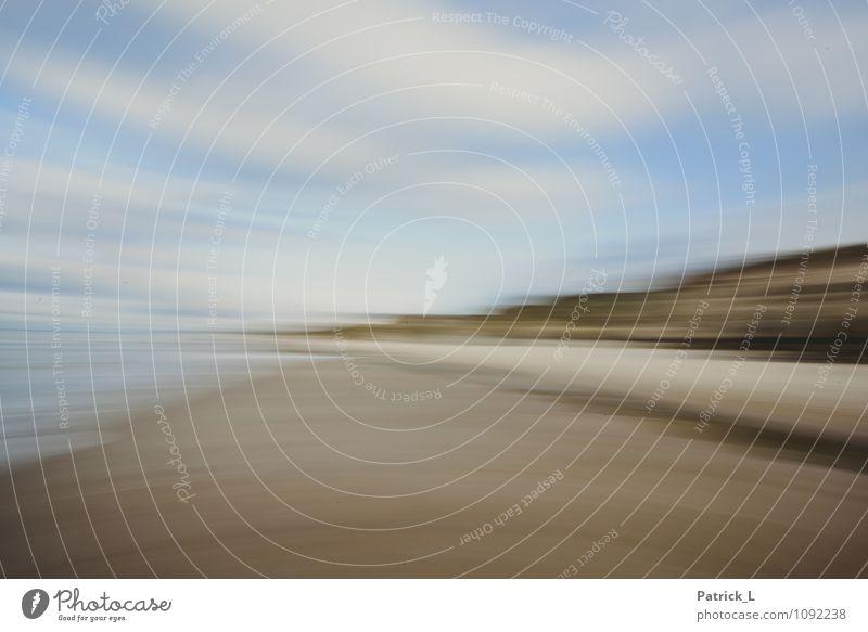 Nordsee Strand Sand Himmel blau braun gelb gold Bewegung Verzerrung Geschwindigkeit Spitze Wolken Klippe Farbfoto Außenaufnahme Experiment abstrakt Menschenleer