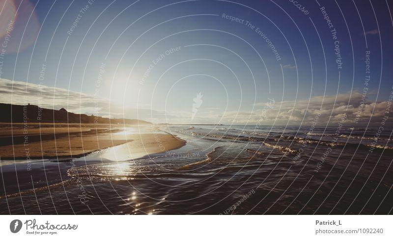 Meerblick Landschaft Sand Luft Wasser Himmel Sonne Sonnenlicht Herbst Nordsee Sehnsucht Wellen Sandbank Wolken blau Blendenfleck Erholung