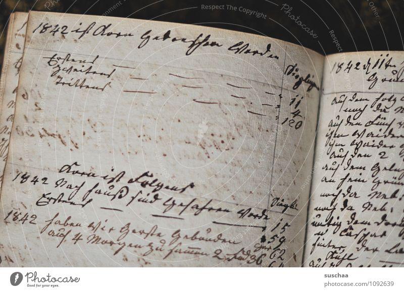 1842 ... Buch Schriftzeichen alt retro braun Nostalgie Vergangenheit Schreibschrift Notizen Notizbuch altdeutsche Schrift Kassenbuch Tagebuch Buchseite Papier