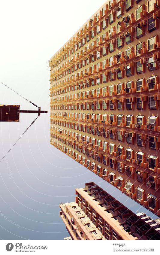 gipfelkreuz. Stadt Hochhaus Christliches Kreuz Zentralperspektive Hongkong Farbfoto Außenaufnahme abstrakt Menschenleer Tag Froschperspektive Mongkok Kowloon