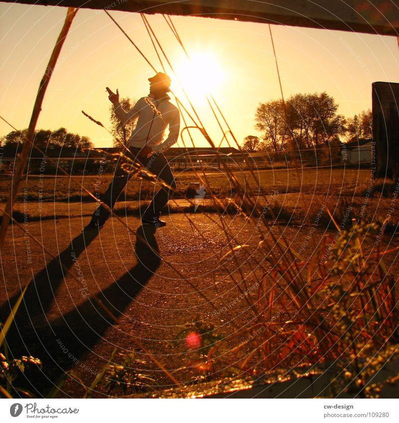 die wilden siebziger Körperhaltung Spaziergang Pendler Luft atmen maskulin wo Gelände Photo-Shooting Medien Fotograf Fotografieren Blatt Herbst Stimmung