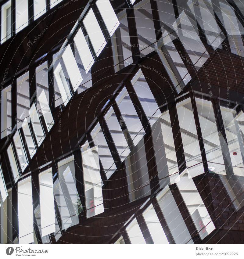 Windows Stadt Menschenleer Hochhaus Bankgebäude Gebäude Architektur außergewöhnlich verrückt grau schwarz weiß Bewegung bizarr chaotisch komplex Kunst modern
