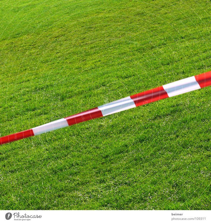Spielen verboten Rasen Sportrasen Barriere Schnur grün Wiese Gras Sportplatz gestreift rot weiß diagonal Hintergrundbild