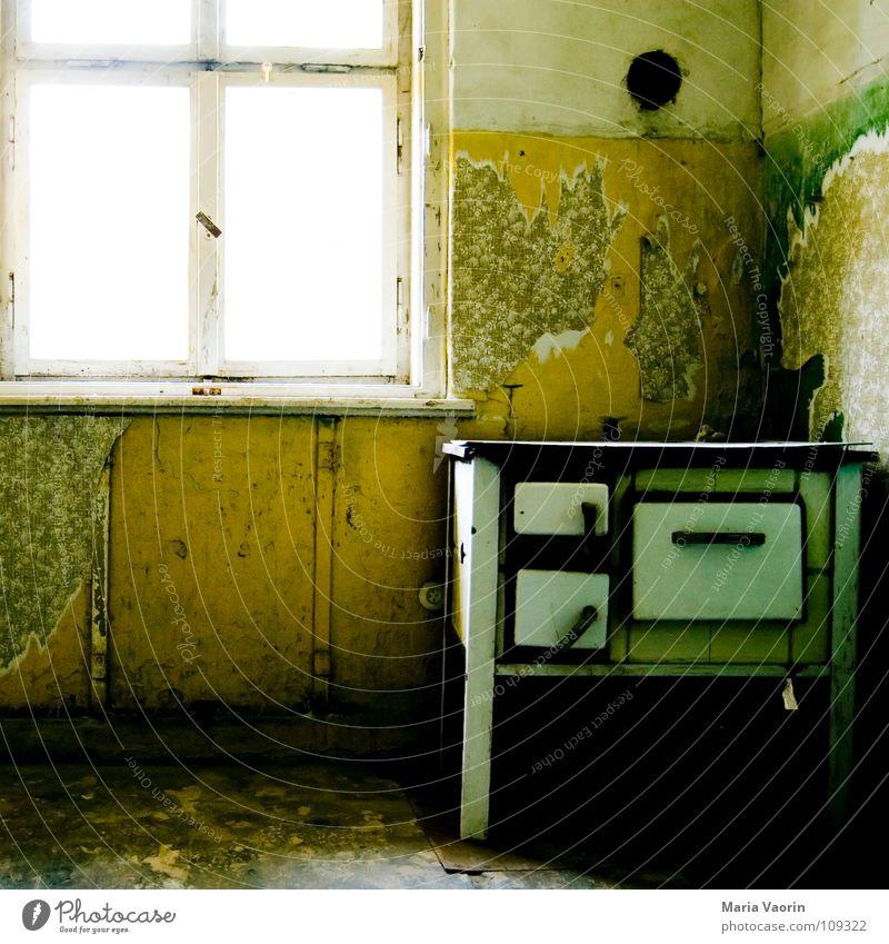 Chaos-kochstelle alt Fenster dreckig kaputt trist Vergänglichkeit Kochen & Garen & Backen Küche Gastronomie Tapete Rost Herd & Backofen unordentlich gebraucht altmodisch