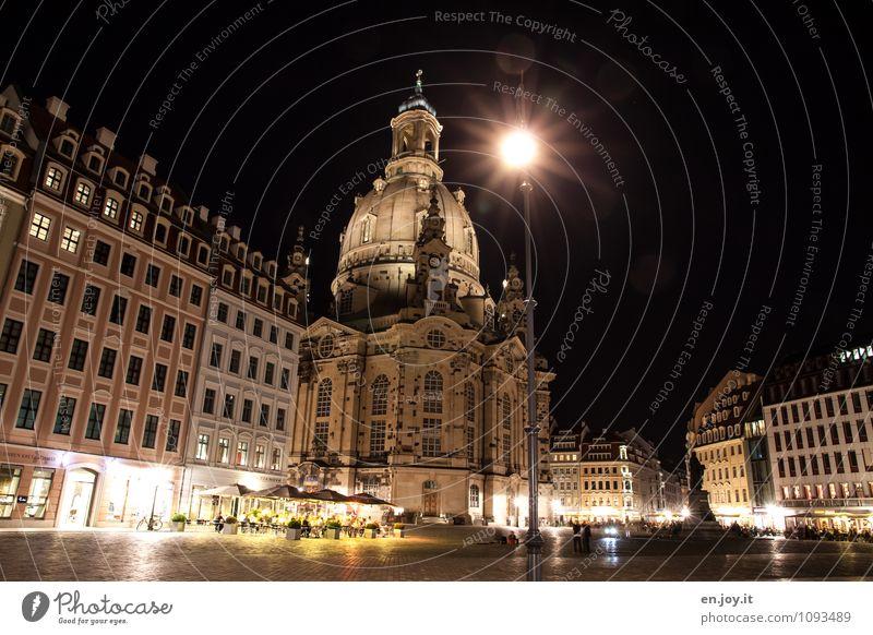 Stadtmitte Ferien & Urlaub & Reisen Tourismus Ausflug Städtereise Beleuchtung Straßenbeleuchtung Nachthimmel Dresden Sachsen Deutschland Europa Hauptstadt